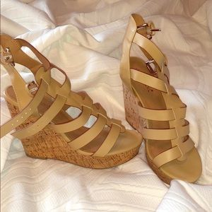 Gorgeous strappy cork wedges